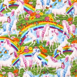 Turquoise cosmo unicorn cloud fairy tale fabric from japan for Space unicorn fabric