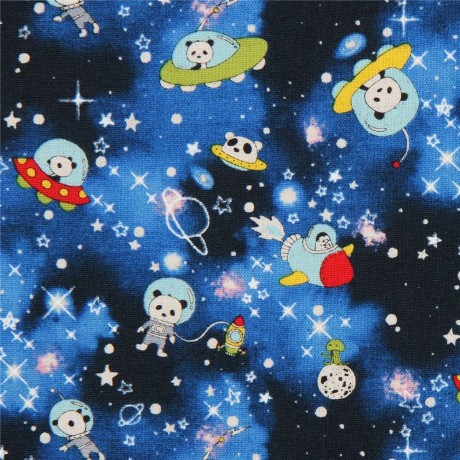 Black blue with cute panda space galaxy canvas fabric from for Space photo fabric