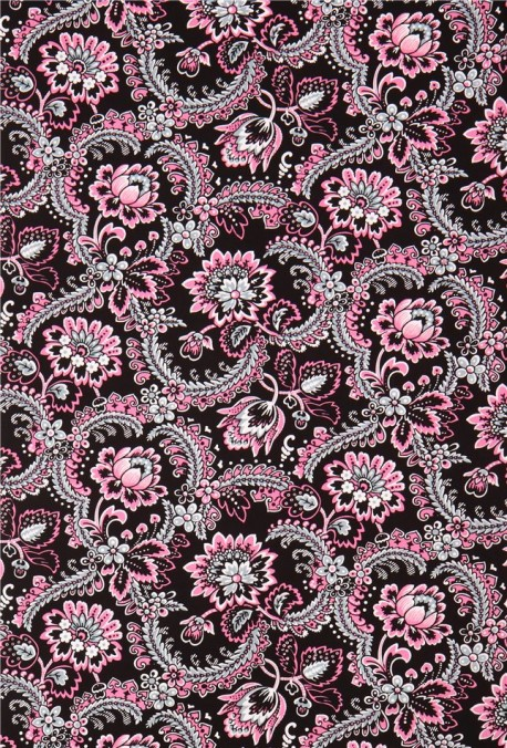 tissu noir avec des fleurs roses marseille par blank quilting etats unis kawaii fabric shop. Black Bedroom Furniture Sets. Home Design Ideas